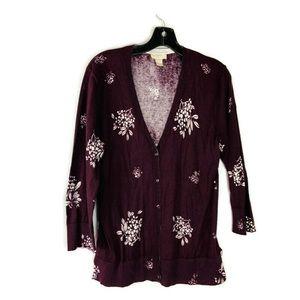 Loft Wine Color Light Cardigan Sweater Size Large